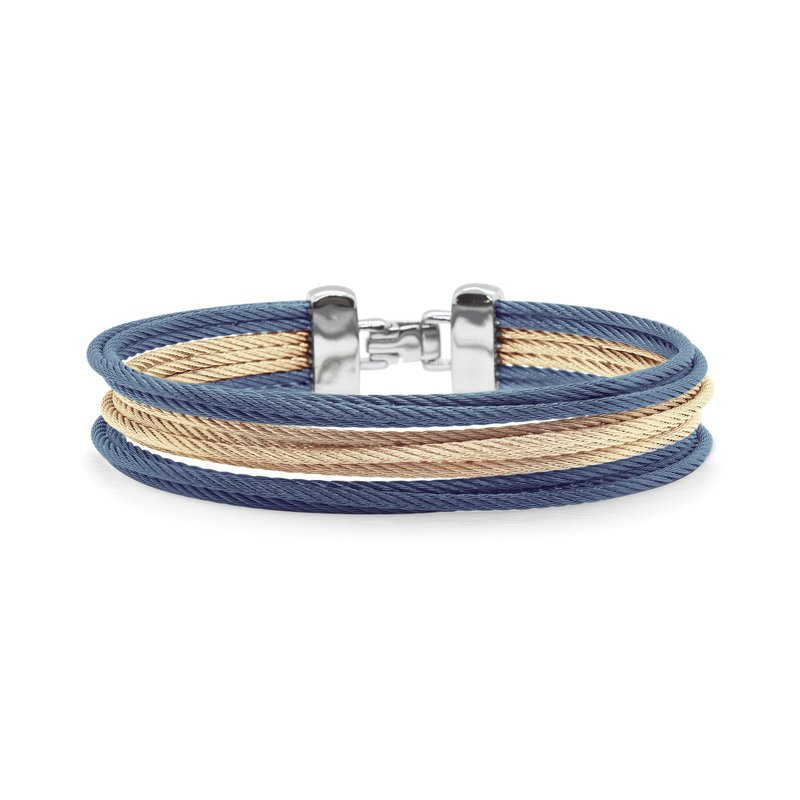 ALOR Carnation & Blueberry Cable Triple Stack Bracelet