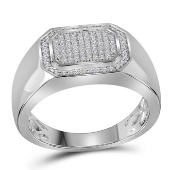 10kt White Gold Mens Round Diamond Octagon Cluster Ring 1/4 Cttw