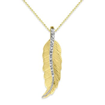 Diamond Feather Necklace in 14k Yellow and White Gold with 9 Diamonds weighing .05ct tw.