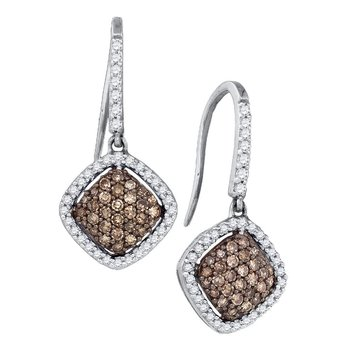 10kt White Gold Womens Round Cognac-brown Color Enhanced Diamond Square Cluster Dangle Earrings 5/8 Cttw