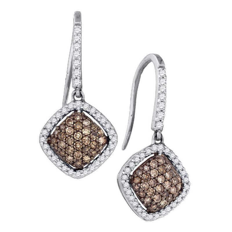 Kingdom Treasures 10kt White Gold Womens Round Cognac-brown Color Enhanced Diamond Square Cluster Dangle Earrings 5/8 Cttw