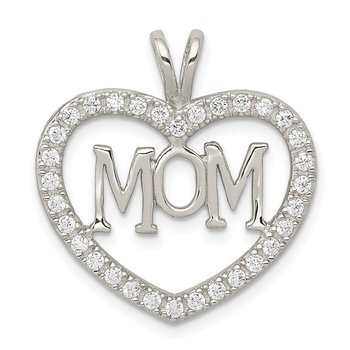 Sterling Silver CZ Heart MOM Pendant