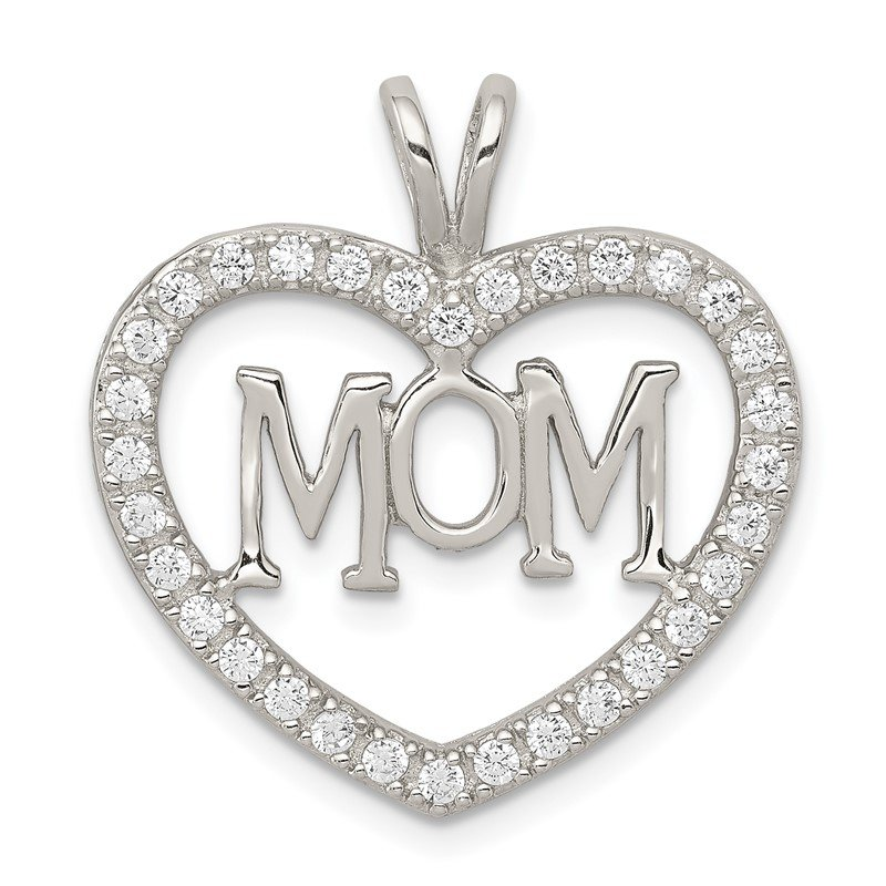 Quality Gold Sterling Silver CZ Heart MOM Pendant