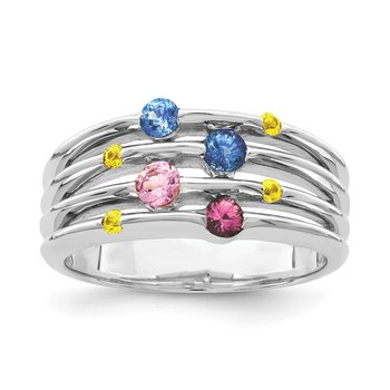 Sterling Silver Rhodium-plated Polished Multi Sapphire Ring