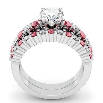 Round Diamond & Ruby Engagement Ring with Matching Wedding Band