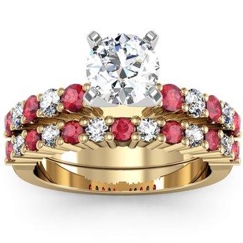 Round Diamond & Ruby Engagement Ring with Matching Wedding Band