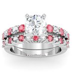 J.F. Kruse Signature Collection Round Diamond & Ruby Engagement Ring with Matching Wedding Band