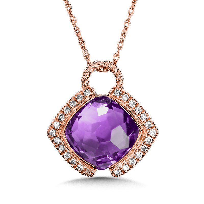 Colore Oro Amethyst & Diamond Layering Pendant in 14K Rose Gold