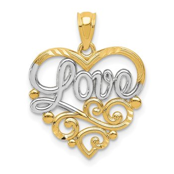 14k w/Rhodium Scroll LOVE Pendant