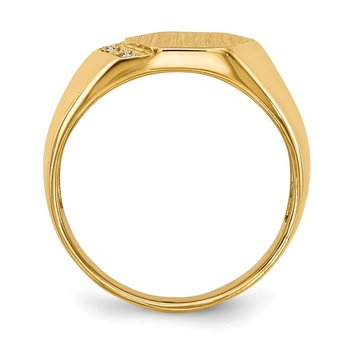 14k 11.5x11.5mm Open Back AA Diamond Men's Signet Ring