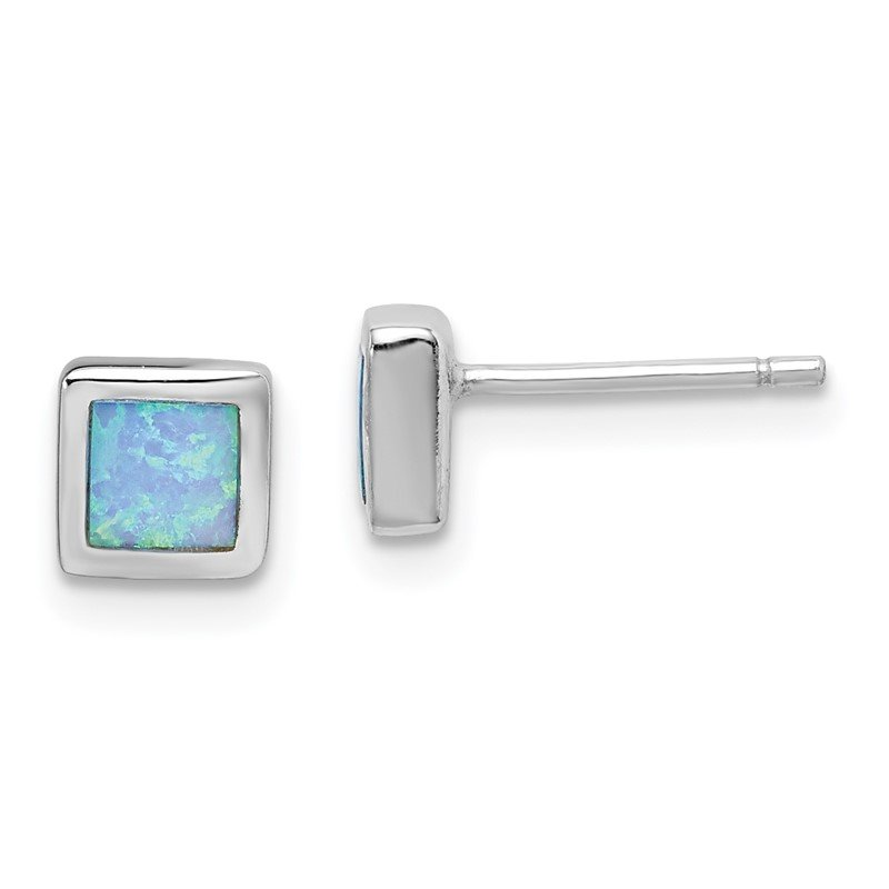 Quality Gold Sterling Silver Rhodium-plated Imitation Opal 6mm Square Post Earrings