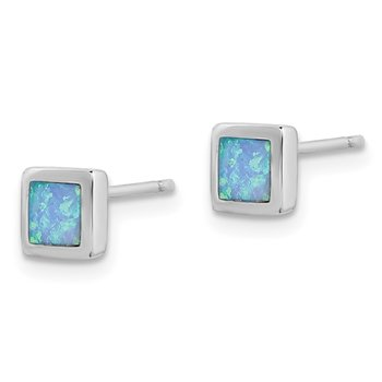 Sterling Silver Rhodium-plated Imitation Opal 6mm Square Post Earrings