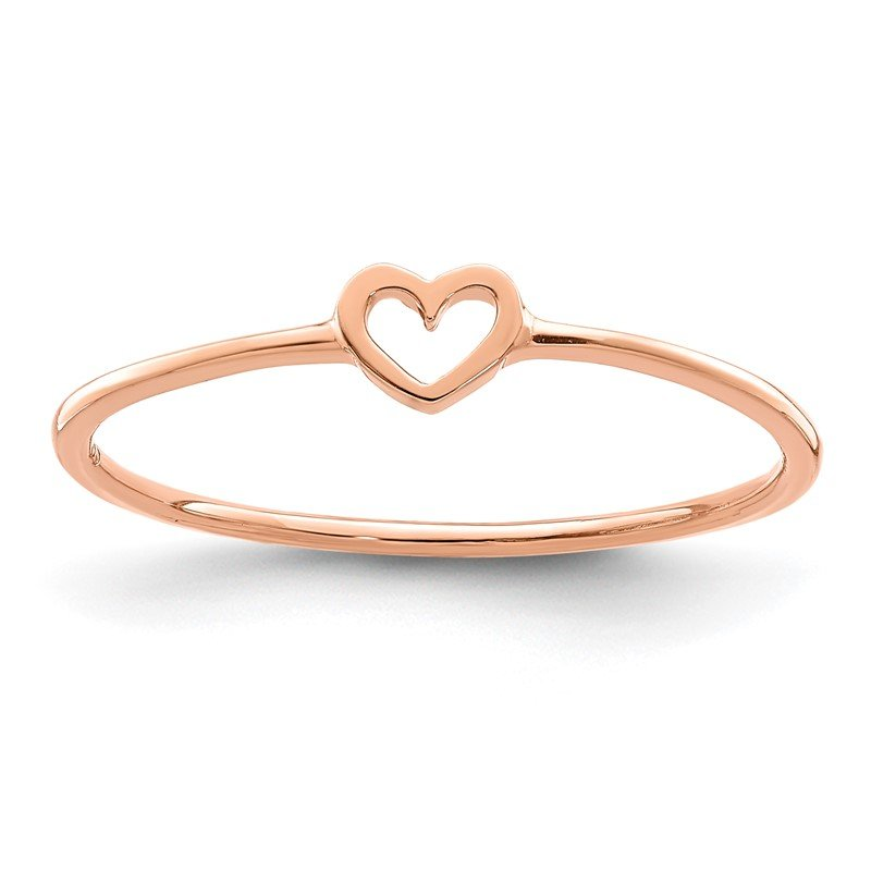 Quality Gold 14K Rose Polished Heart Ring