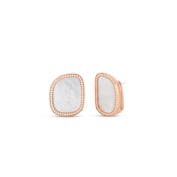 18Kt Gold Earrings With Diamonds And Mother Of Pearl