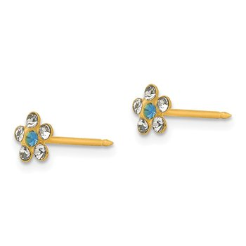 Inverness 14k Clear/Blue Crystal Flower Earrings