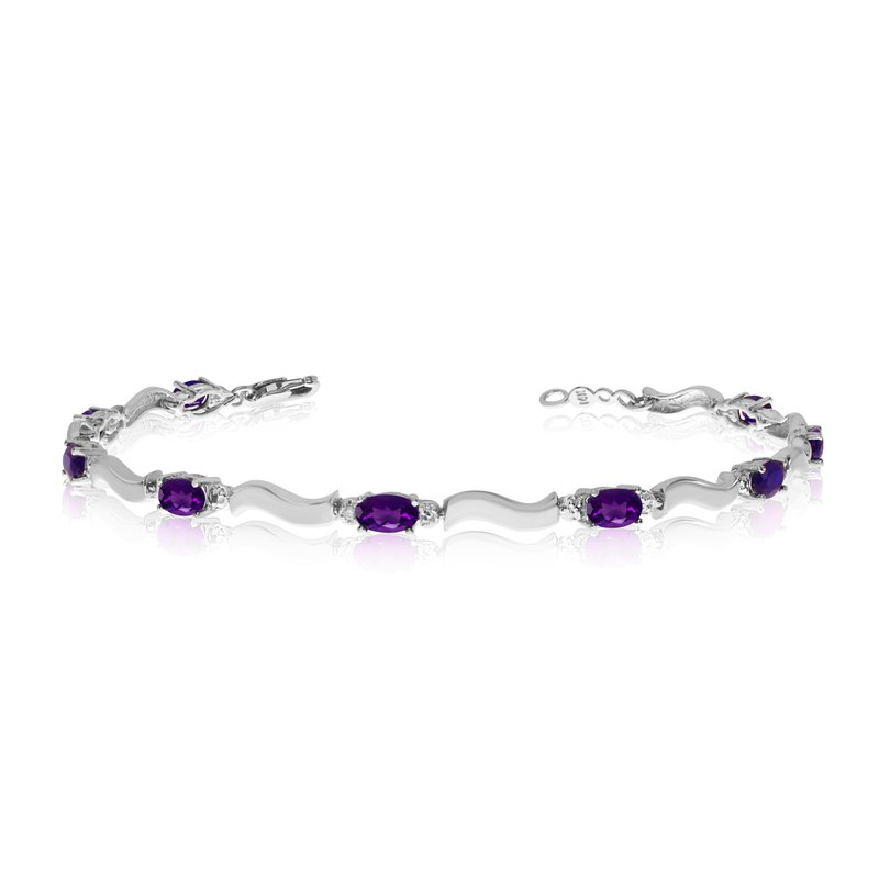 Color Merchants 14K White Gold Oval Amethyst and Diamond Bracelet
