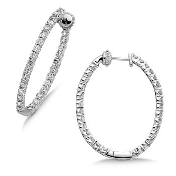 Pave set Diamond Oval Reflection Hoops in 14k White Gold (1 1/2 ct. tw.) JK/I1