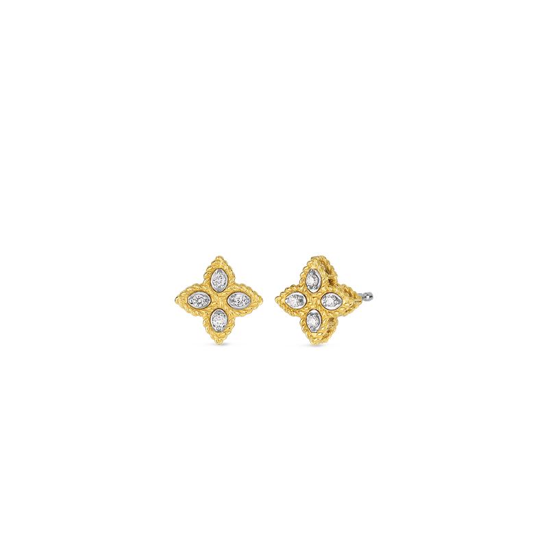 Roberto Coin 18Kt Gold Small Stud Earrings With Diamonds