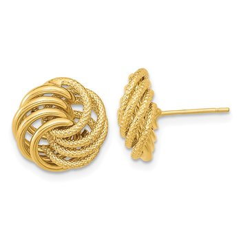 14k Polished Textured Fancy Swirl Post Earrings