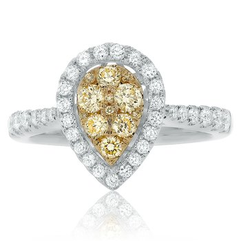 Pave Shank Pear-shaped Diamond Ring