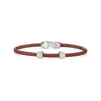 Burgundy Cable Essential Stackable Bracelet with Double Square Diamond station set in 18kt Rose Gold