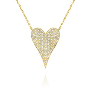 14k Gold and Diamond Large Modern Heart Necklace