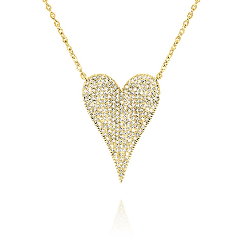 KC Designs 14k Gold and Diamond Large Modern Heart Necklace