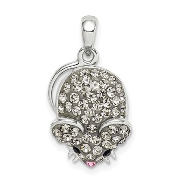 Sterling Silver Grey Preciosa Crystal Mouse Pendant