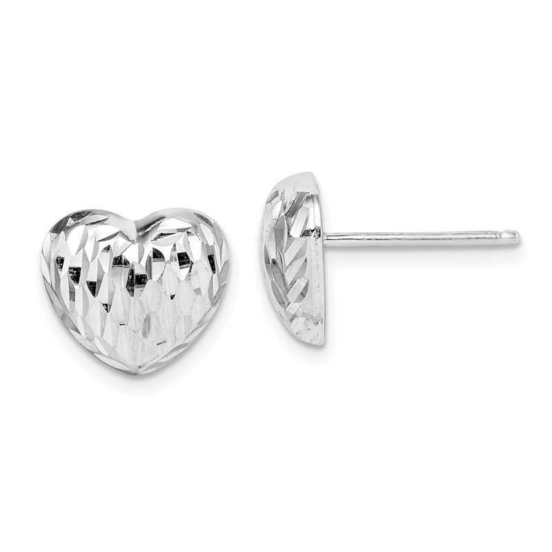 Quality Gold Sterling Silver Rhodium-plated Polished and D/C Heart Post Earrings