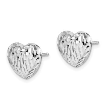 Sterling Silver Rhodium-plated Polished and D/C Heart Post Earrings