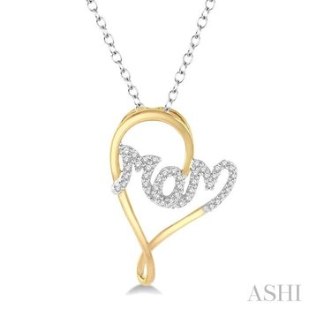 mom heart shape diamond pendant
