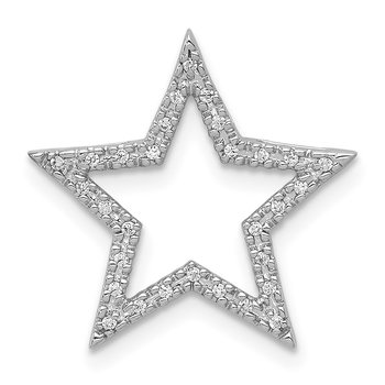14k White Gold Small Diamond Star Chain Slide Pendant