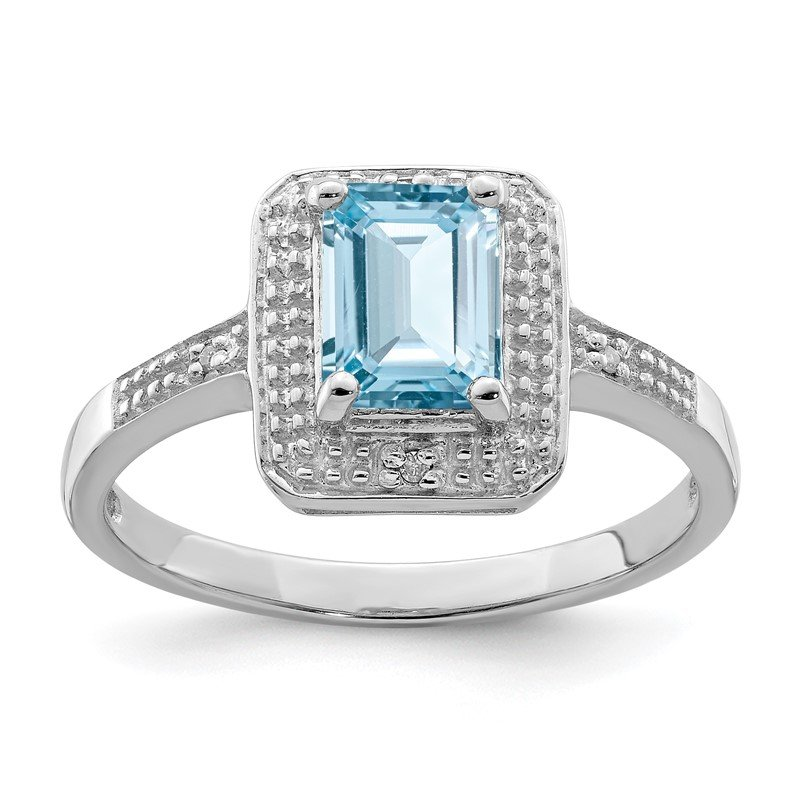 Quality Gold Sterling Silver Rhodium Plated Diamond & Light Swiss Blue Topaz Ring