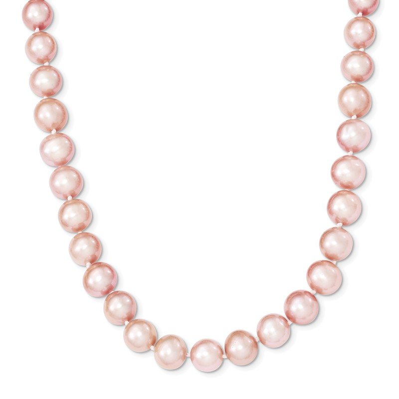 Quality Gold Sterling Silver Rhodium-plated 9-10mm Pink FWC Pearl Necklace