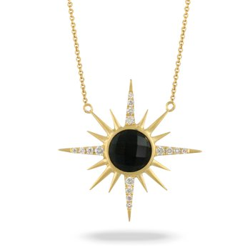 Gatsby Onyx & Diamond Sunburst Necklace 18KY