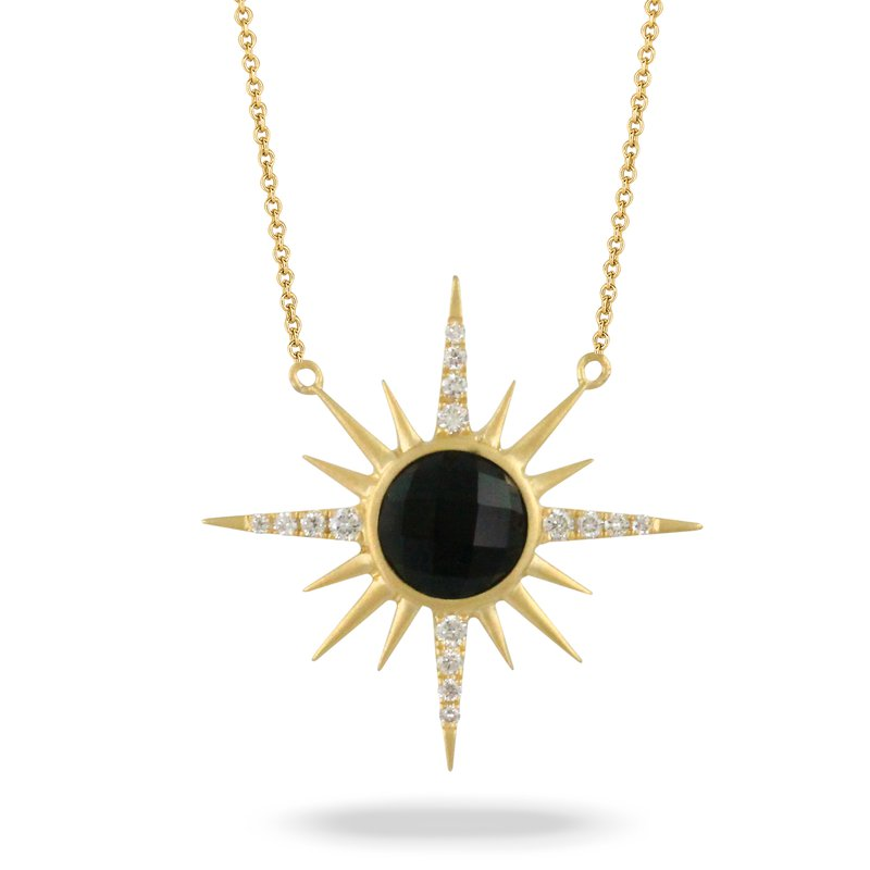 Doves Gatsby Onyx & Diamond Sunburst Necklace 18KY