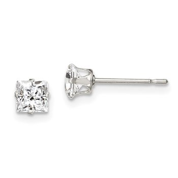 Sterling Silver 4mm Square Snap Set CZ Stud Earrings