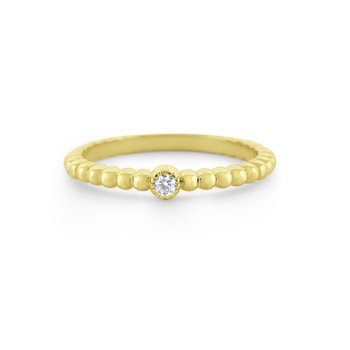 Diamond Solitaire Milgrain Stack Band Set in 14 Kt. Gold