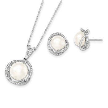 Sterling Silver Rhodium-plated 10-12mm FWC Pearl CZ Necklace/Earring Set