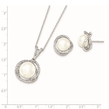 Sterling Silver Rhod 10-12mm White FWC Pearl CZ Necklace/Earring Set