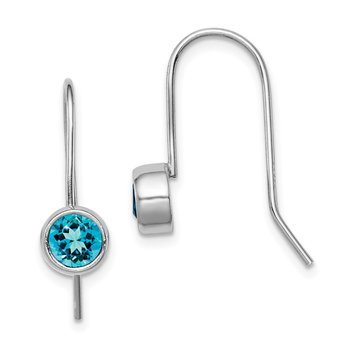Sterling Silver Rhodium-plated Blue Topaz Round Bezel Set Earrings