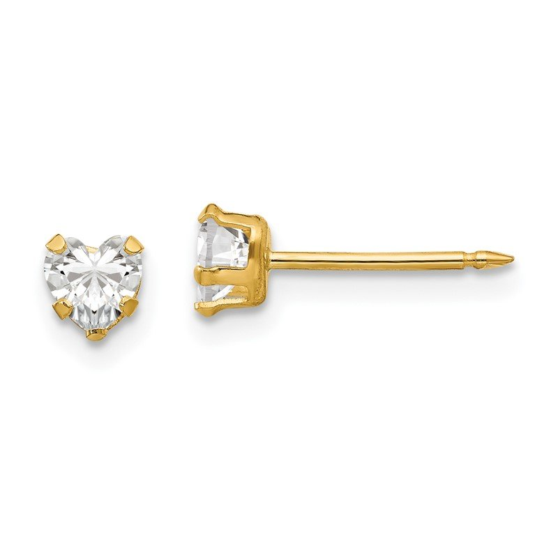 Quality Gold Inverness 14k 4mm Clear Heart CZ Earrings
