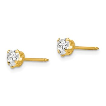 Inverness 14k 4mm Clear Heart CZ Earrings
