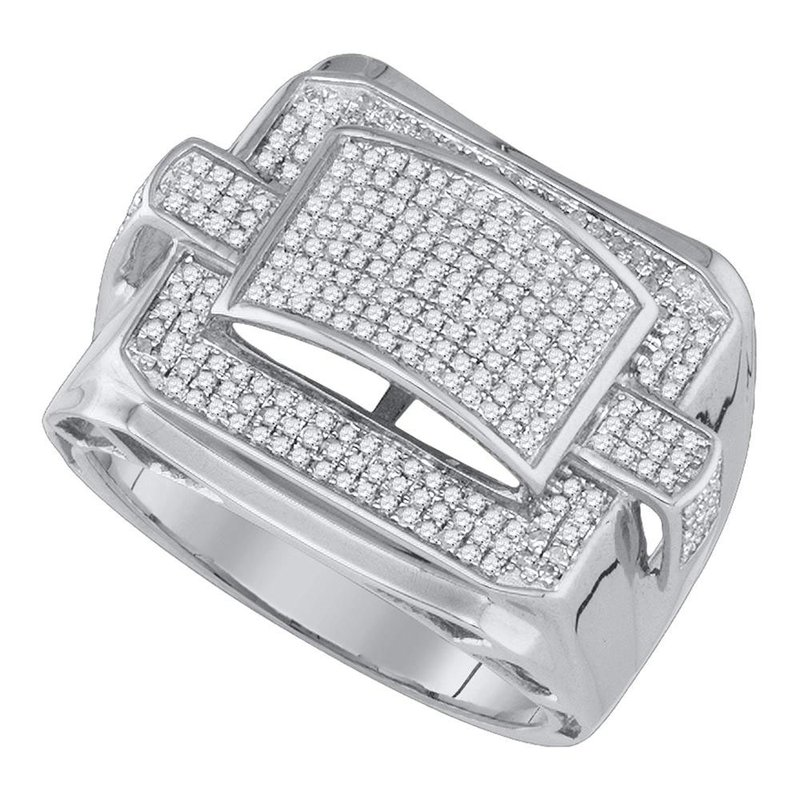 Gold-N-Diamonds, Inc. (Atlanta) 10kt White Gold Mens Round Diamond Arched Square Cluster Ring 3/4 Cttw