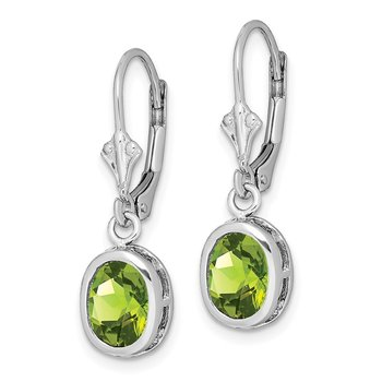 Sterling Silver Rhodium 8x6mm Oval Peridot Leverback Earrings