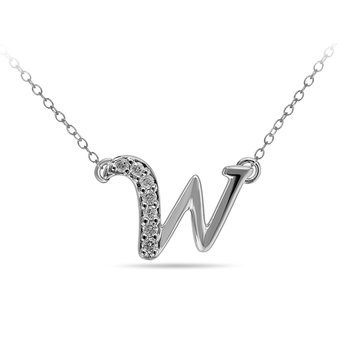 "10K WG and diamond cursive alphabet W ""Chain Sliding "" pendant in prong setting"