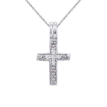 14K White Gold Small Diamond Cross Pendant