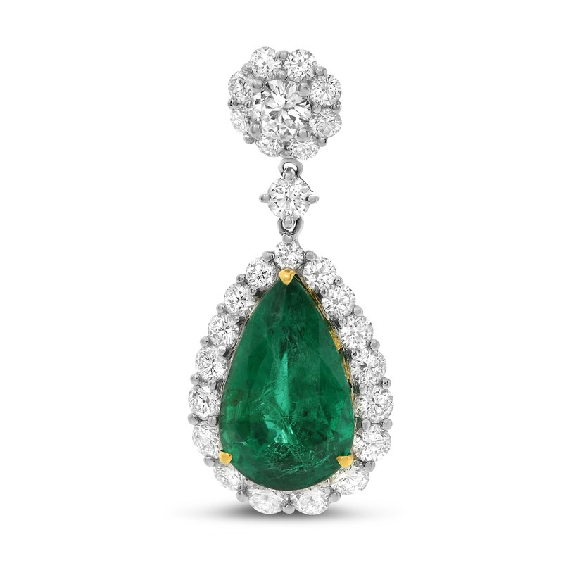 Roman & Jules Pear-shaped Emerald & Diamond Pendant