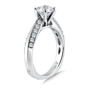 Channel and Prong Set Round Diamond Engagement Ring With Side Stones in 14K White Gold with Platinum Head (1ct. tw.)