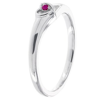 10k White Gold Ruby Heart Promise Ring